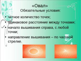 «Овал» Обязательные условия: чётное количество точек; одинаковое расстояние м