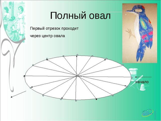 Полный овал Первый отрезок проходит через центр овала начало