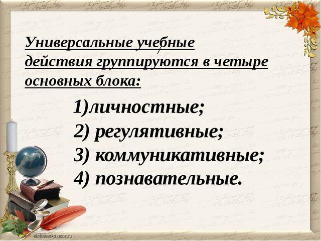 / Универсальные учебные действиягруппируются в четыре основных блока: 1)лич...