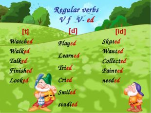 Regular verbs V → V- ed [t] Watched Walked Talked Finished Looked [id] Skated