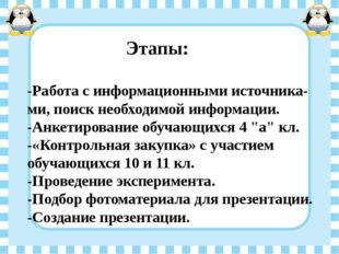 Этапы: -Работа с информационными источника-ми, поиск необходимой информации.