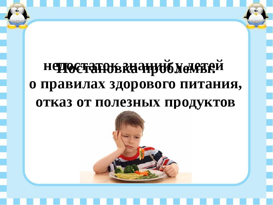 Постановка проблемы: недостаток знаний у детей о правилах здорового питания,...