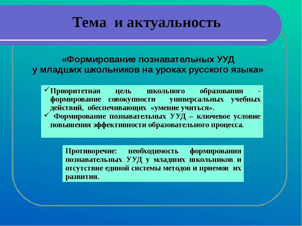 Тема и актуальность «Формирование познавательных УУД у младших школьников на...
