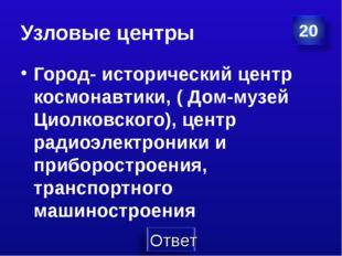 Узловые центры Город- исторический центр космонавтики, ( Дом-музей Циолковско