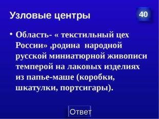 Узловые центры Область- « текстильный цех России» ,родина народной русской ми