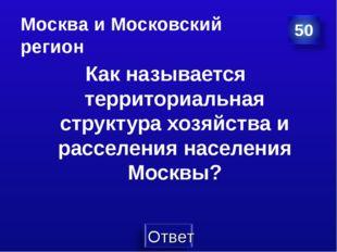 Москва и Московский регион Как называется территориальная структура хозяйства