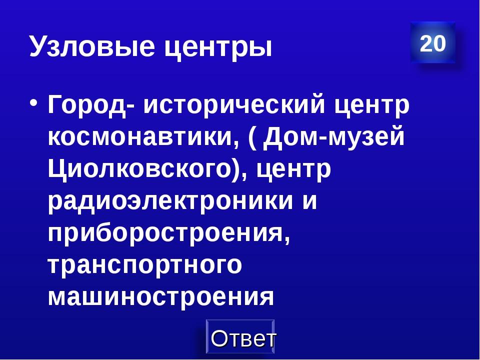 Узловые центры Город- исторический центр космонавтики, ( Дом-музей Циолковско...