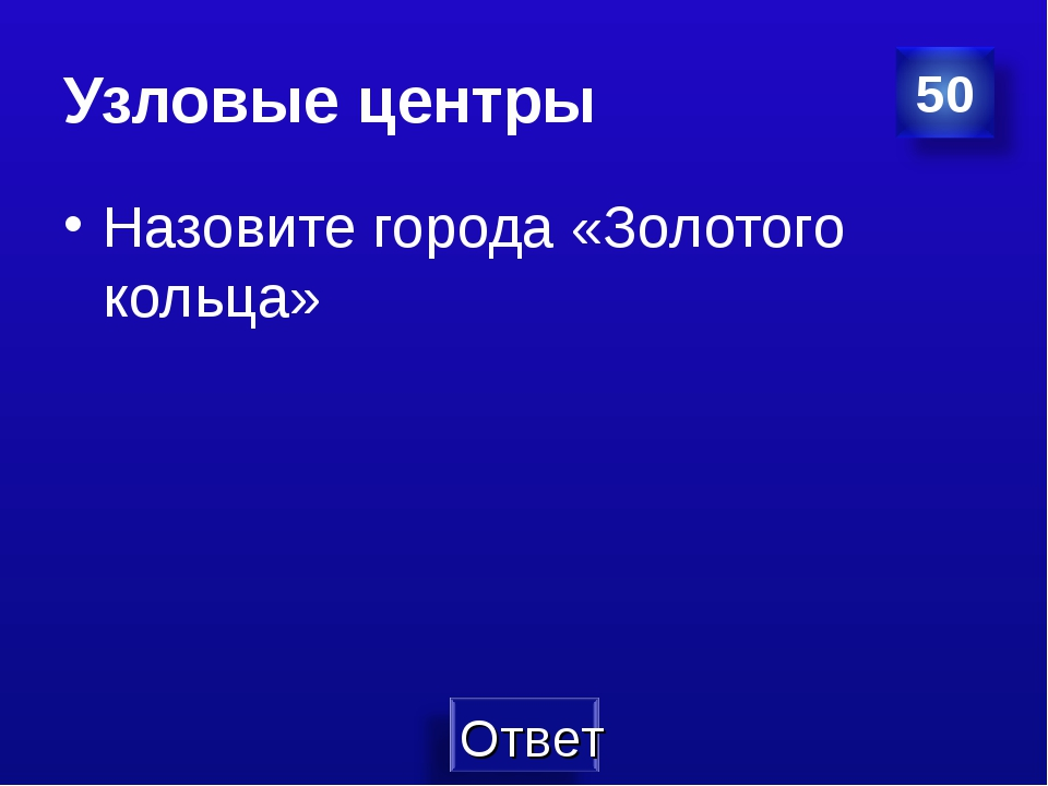 Узловые центры Назовите города «Золотого кольца»