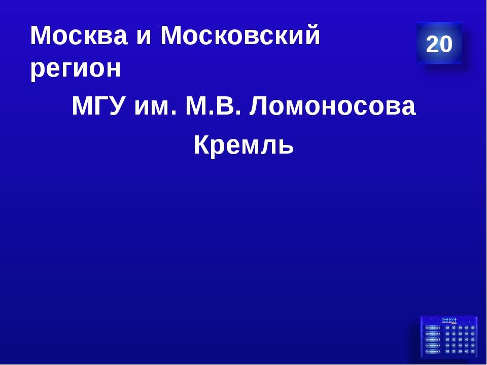 Москва и Московский регион МГУ им. М.В. Ломоносова Кремль