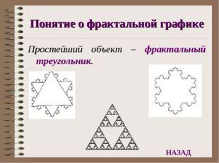 Понятие о фрактальной графике Простейший объект – фрактальный треугольник. НА