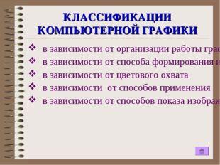КЛАССИФИКАЦИИ КОМПЬЮТЕРНОЙ ГРАФИКИ в зависимости от организации работы графич