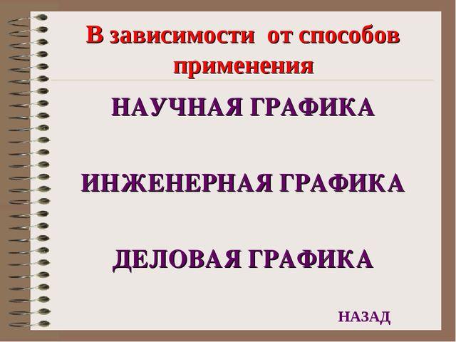 В зависимости от способов применения НАУЧНАЯ ГРАФИКА ИНЖЕНЕРНАЯ ГРАФИКА ДЕЛОВ...