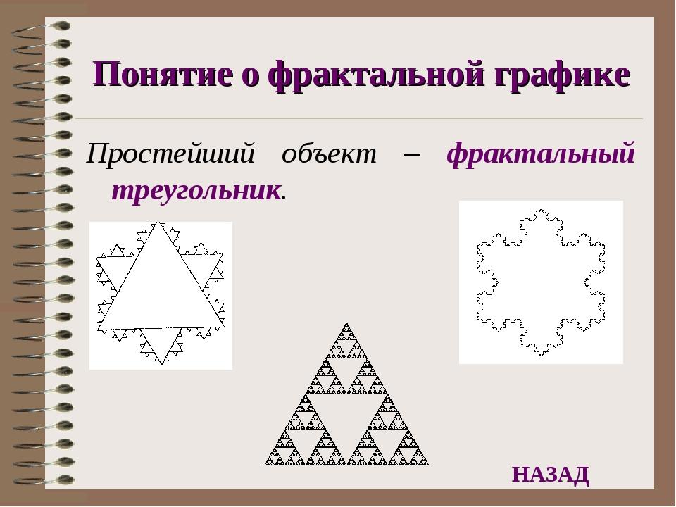 Понятие о фрактальной графике Простейший объект – фрактальный треугольник. НА...