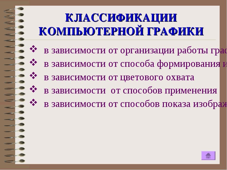 КЛАССИФИКАЦИИ КОМПЬЮТЕРНОЙ ГРАФИКИ в зависимости от организации работы графич...