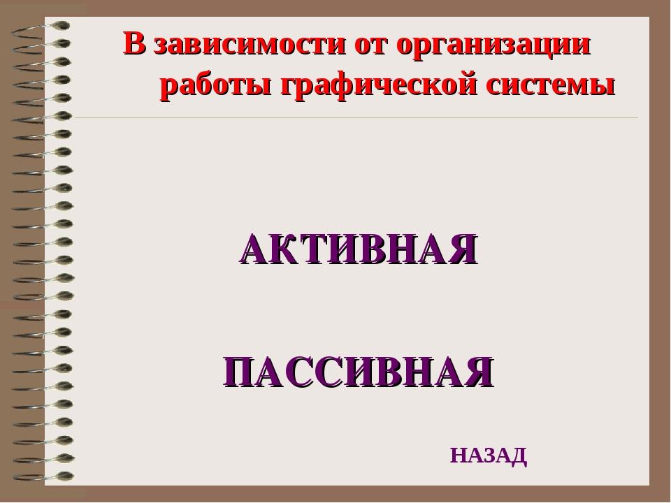 В зависимости от организации работы графической системы АКТИВНАЯ ПАССИВНАЯ НА...