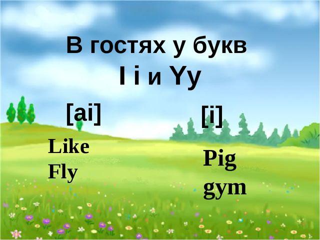 В гостях у букв I i и Yy [ai] Like Fly [i] Pig gym