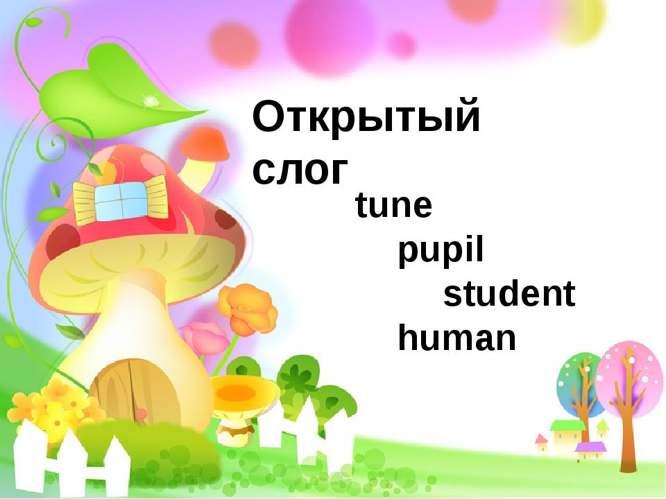 Открытый слог tune pupil  student human