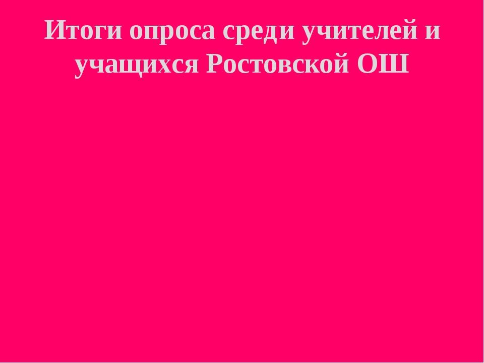 Итоги опроса среди учителей и учащихся Ростовской ОШ