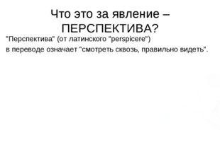 """Что это за явление – ПЕРСПЕКТИВА? """"Перспектива"""" (от латинского """"perspicere"""")"""