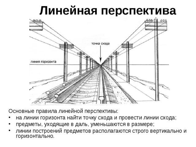 Линейная перспектива Основные правила линейной перспективы: на линии горизонт...