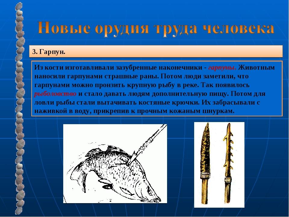 3. Гарпун. Из кости изготавливали зазубренные наконечники - гарпуны. Животным...