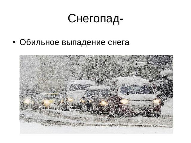 Снегопад- Обильное выпадение снега