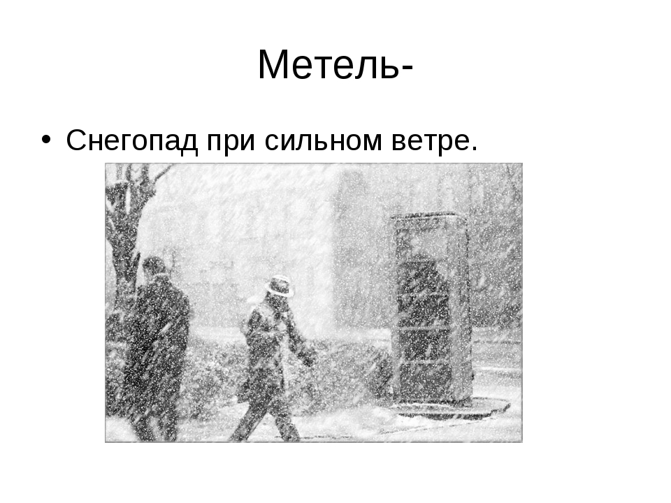 Метель- Снегопад при сильном ветре.