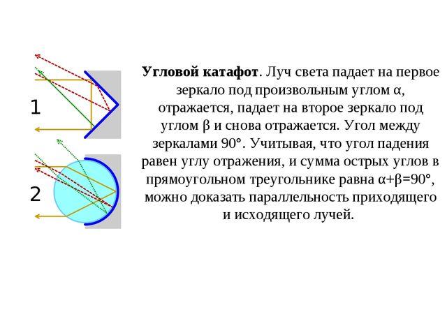 Угловой катафот. Луч света падает на первое зеркало под произвольным углом α,...