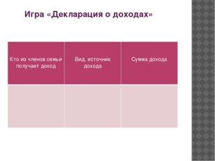 Игра «Декларация о доходах» Кто из членов семьи получает доход Вид, источник