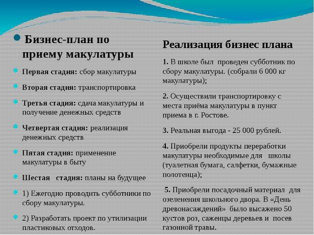 Бизнес-план по приему макулатуры Первая стадия: сбор макулатуры Вторая стадия...