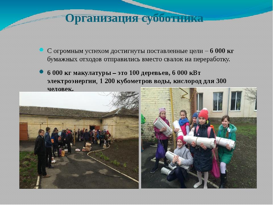 Организация субботника С огромным успехом достигнуты поставленные цели – 600...