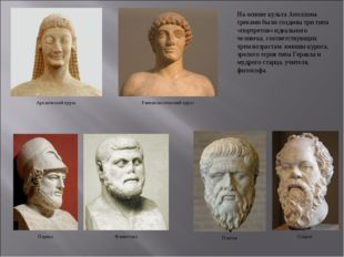 На основе культа Аполлона греками были созданы три типа «портретов» идеальног