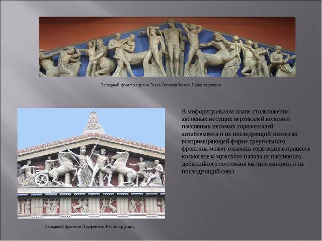 В мифоритуальном плане столкновение активных несущих вертикалей колонн и пасс...