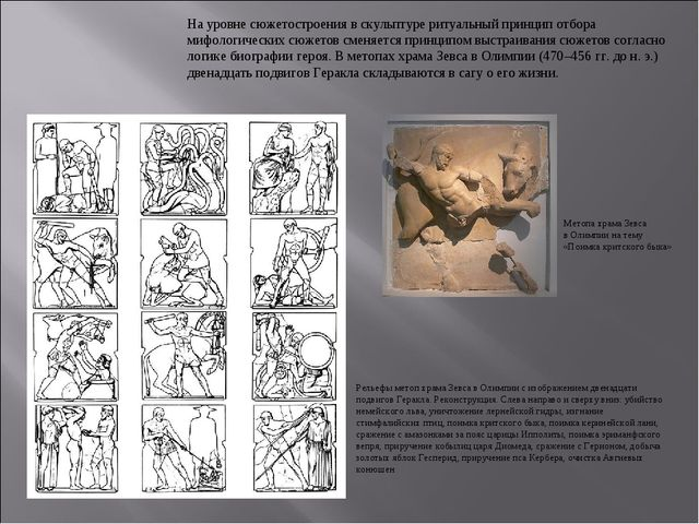 На уровне сюжетостроения в скульптуре ритуальный принцип отбора мифологически...