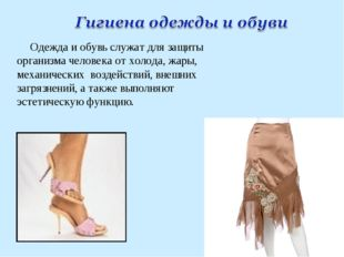 Одежда и обувь служат для защиты организма человека от холода, жары, механиче