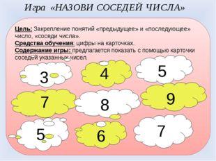 Цель: Закрепление понятий «предыдущее» и «последующее» число, «соседи числа».