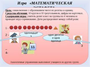 Игра «МАТЕМАТИЧЕСКАЯ ЭСТАФЕТА» Цель: ознакомление с образованием чисел из дес