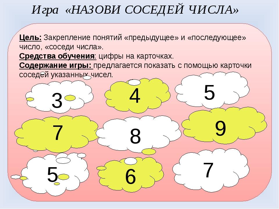 Цель: Закрепление понятий «предыдущее» и «последующее» число, «соседи числа»....