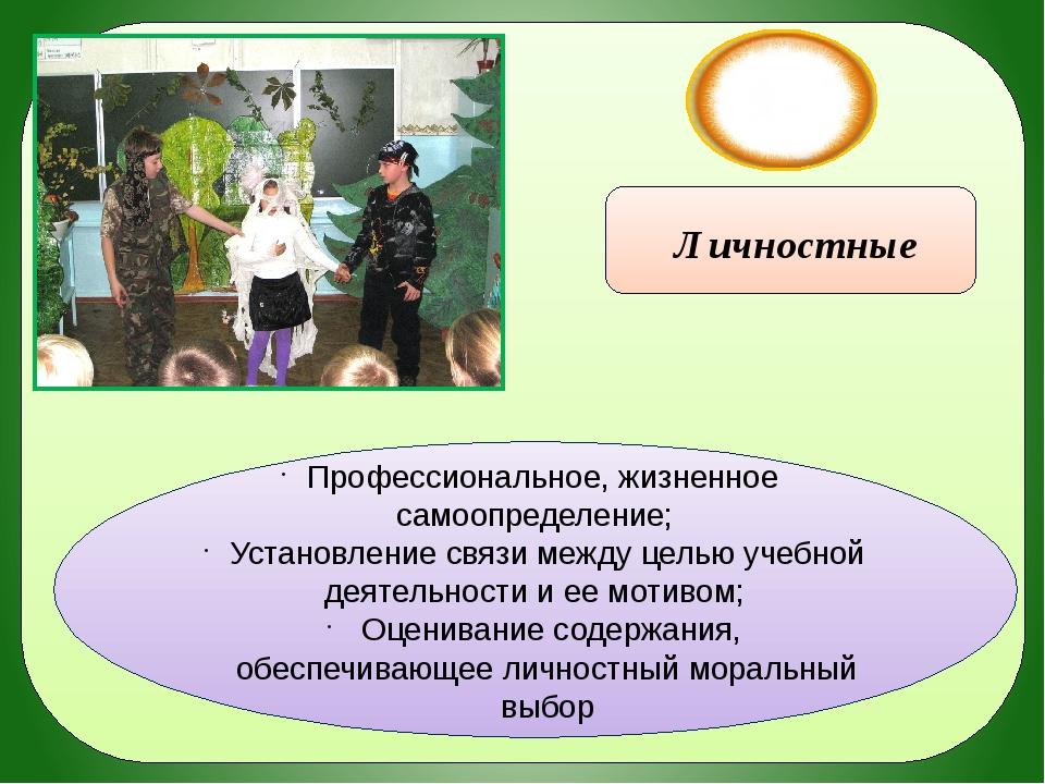УУД Личностные Профессиональное, жизненное самоопределение; Установление свя...