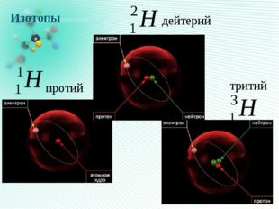 Изотопы  дейтерий тритий протий