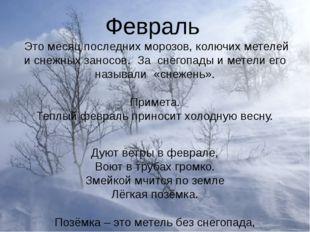 Февраль Это месяц последних морозов, колючих метелей и снежных заносов. За сн