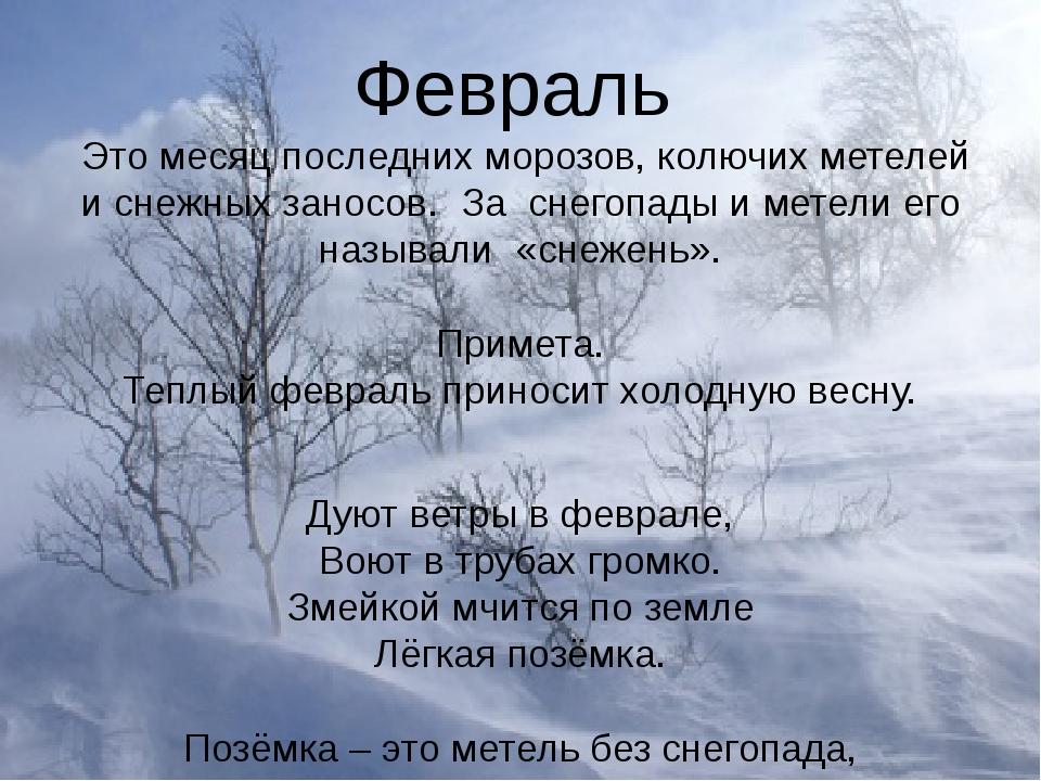 Февраль Это месяц последних морозов, колючих метелей и снежных заносов. За сн...