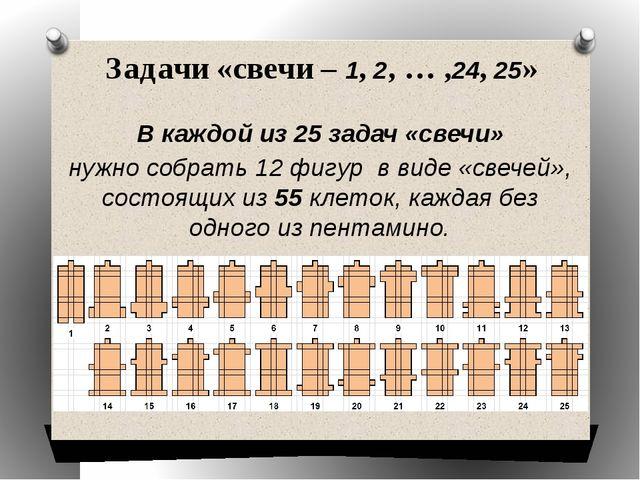 Задачи «свечи – 1, 2, … ,24, 25» В каждой из 25 задач «свечи» нужно собрать 1...