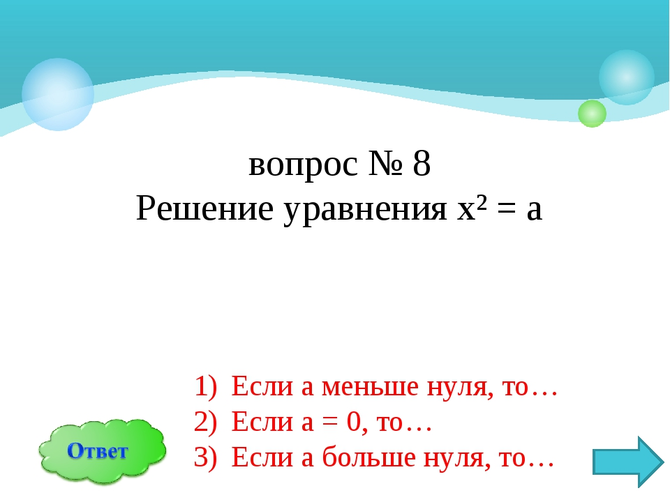 вопрос № 8 Решение уравнения х² = а Если а меньше нуля, то… Если а = 0, то… Е...