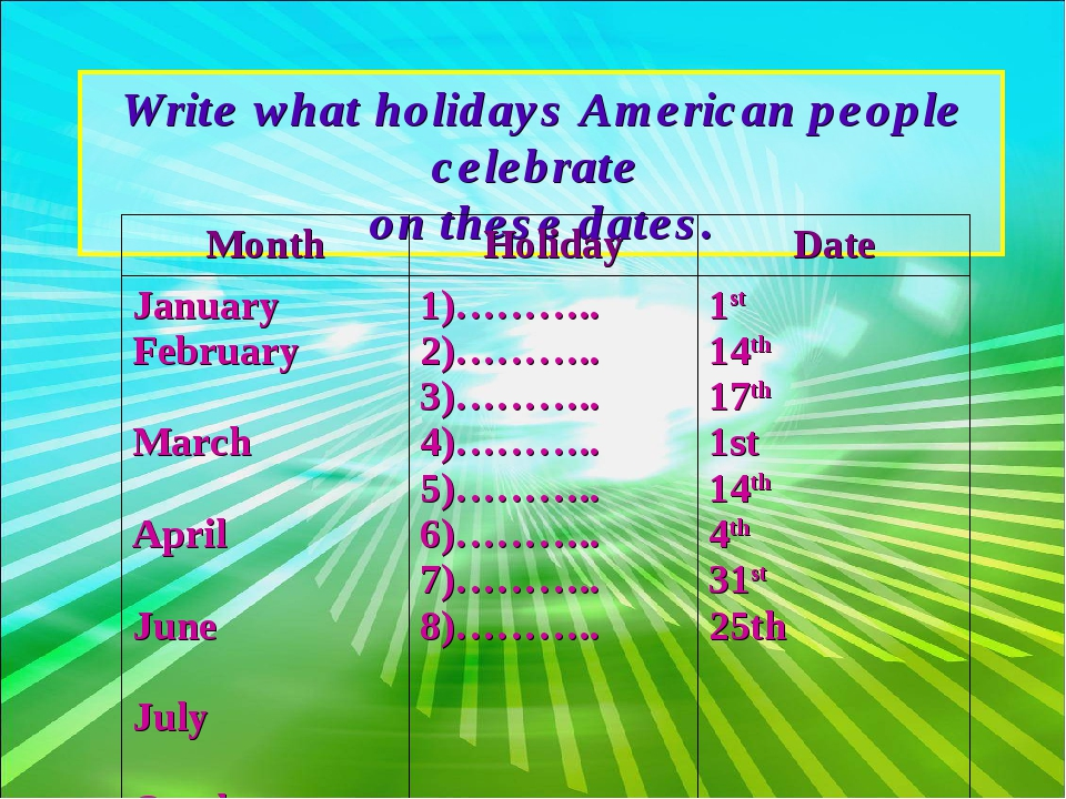 Write what holidays American people celebrate on these dates.