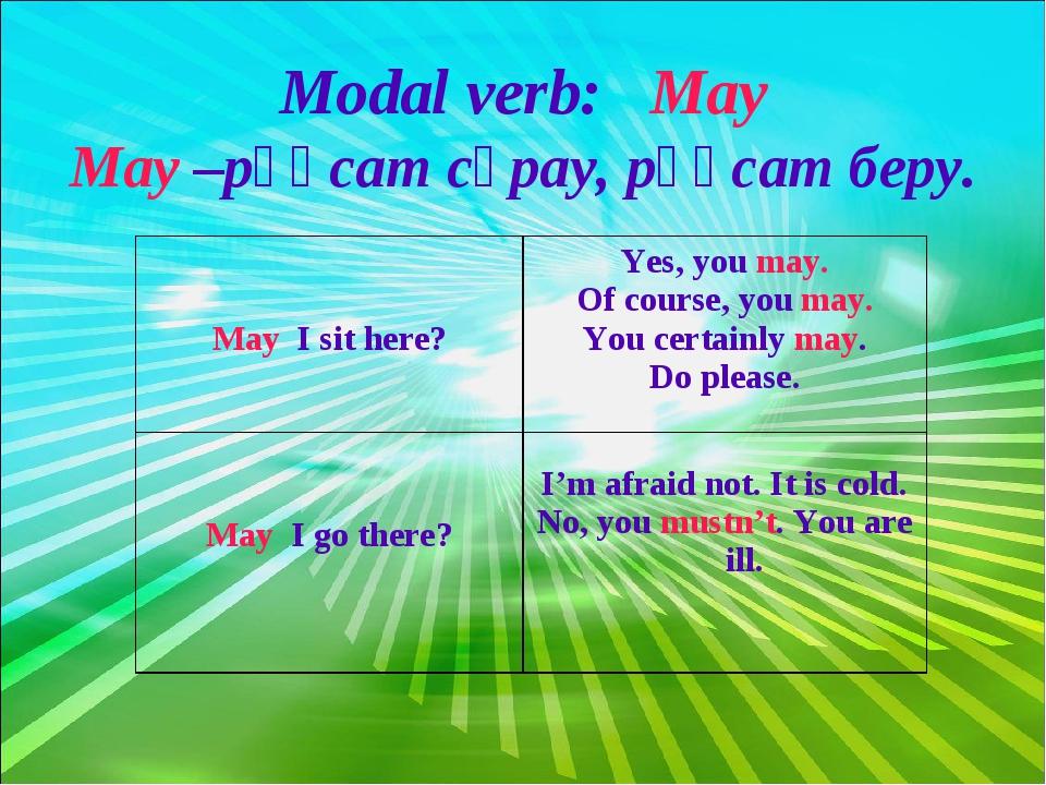 Modal verb: May May –рұқсат сұрау, рұқсат беру.