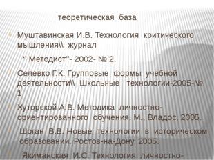 теоретическая база Муштавинская И.В. Технология критического мышления\\ журн