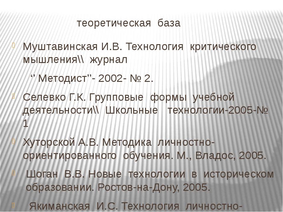 теоретическая база Муштавинская И.В. Технология критического мышления\\ журн...