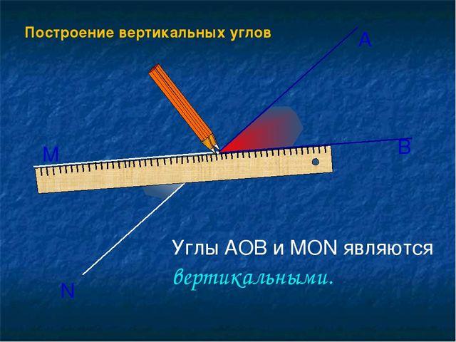 Построение вертикальных углов О А В М N Углы АОВ и МОN являются вертикальными.