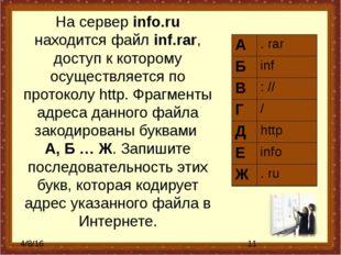 На сервер info.ru находится файл inf.rar, доступ к которому осуществляется по